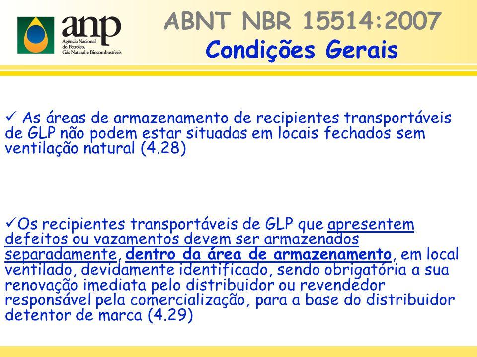 ABNT NBR 15514:2007 Condições Gerais As áreas de armazenamento de recipientes transportáveis de GLP não podem estar situadas em locais fechados sem ve