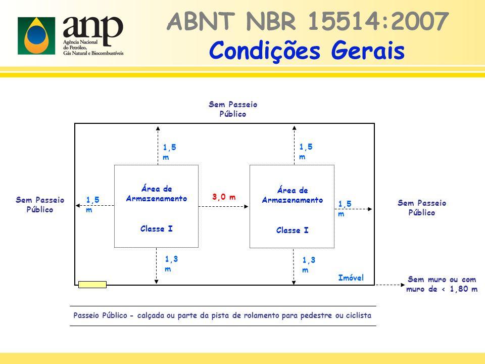 ABNT NBR 15514:2007 Condições Gerais Sem Passeio Público Área de Armazenamento Classe I Imóvel Passeio Público - calçada ou parte da pista de rolament