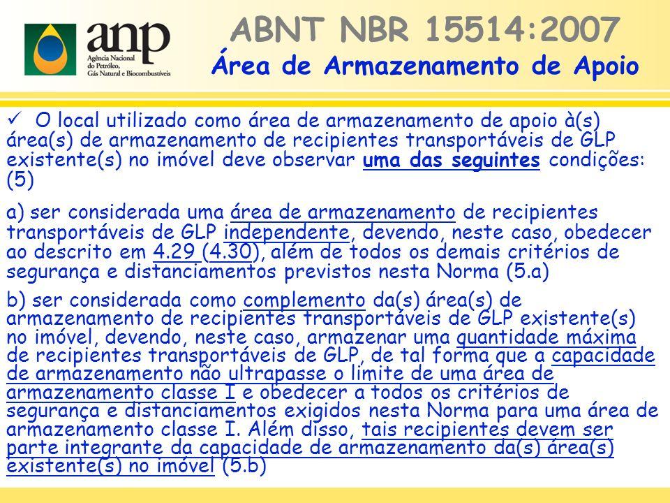 ABNT NBR 15514:2007 Área de Armazenamento de Apoio O local utilizado como área de armazenamento de apoio à(s) área(s) de armazenamento de recipientes
