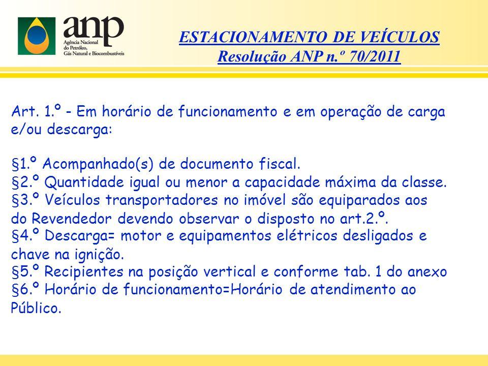ESTACIONAMENTO DE VEÍCULOS Resolução ANP n.º 70/2011 Art. 1.º - Em horário de funcionamento e em operação de carga e/ou descarga: §1.º Acompanhado(s)