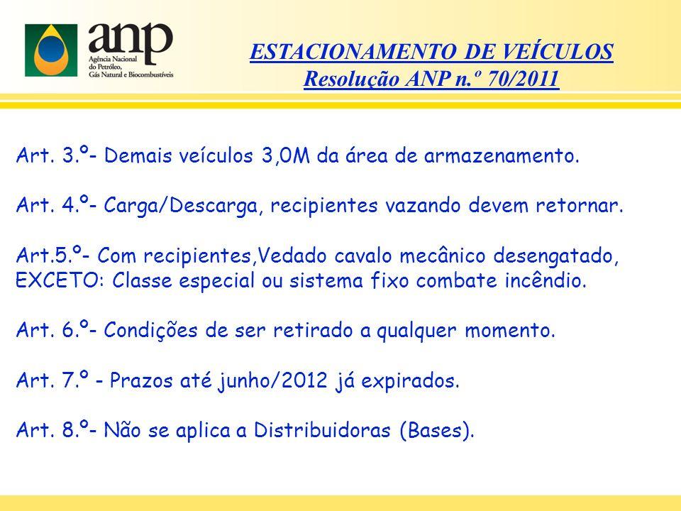 ESTACIONAMENTO DE VEÍCULOS Resolução ANP n.º 70/2011 Art. 3.º- Demais veículos 3,0M da área de armazenamento. Art. 4.º- Carga/Descarga, recipientes va