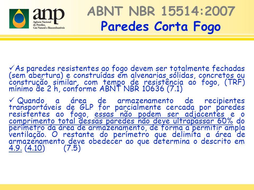 ABNT NBR 15514:2007 Paredes Corta Fogo As paredes resistentes ao fogo devem ser totalmente fechadas (sem abertura) e construídas em alvenarias sólidas