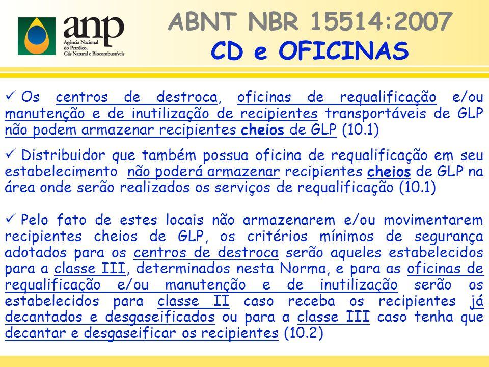 ABNT NBR 15514:2007 CD e OFICINAS Os centros de destroca, oficinas de requalificação e/ou manutenção e de inutilização de recipientes transportáveis de GLP não podem armazenar recipientes cheios de GLP (10.1) Distribuidor que também possua oficina de requalificação em seu estabelecimento não poderá armazenar recipientes cheios de GLP na área onde serão realizados os serviços de requalificação (10.1) Pelo fato de estes locais não armazenarem e/ou movimentarem recipientes cheios de GLP, os critérios mínimos de segurança adotados para os centros de destroca serão aqueles estabelecidos para a classe III, determinados nesta Norma, e para as oficinas de requalificação e/ou manutenção e de inutilização serão os estabelecidos para classe II caso receba os recipientes já decantados e desgaseificados ou para a classe III caso tenha que decantar e desgaseificar os recipientes (10.2)