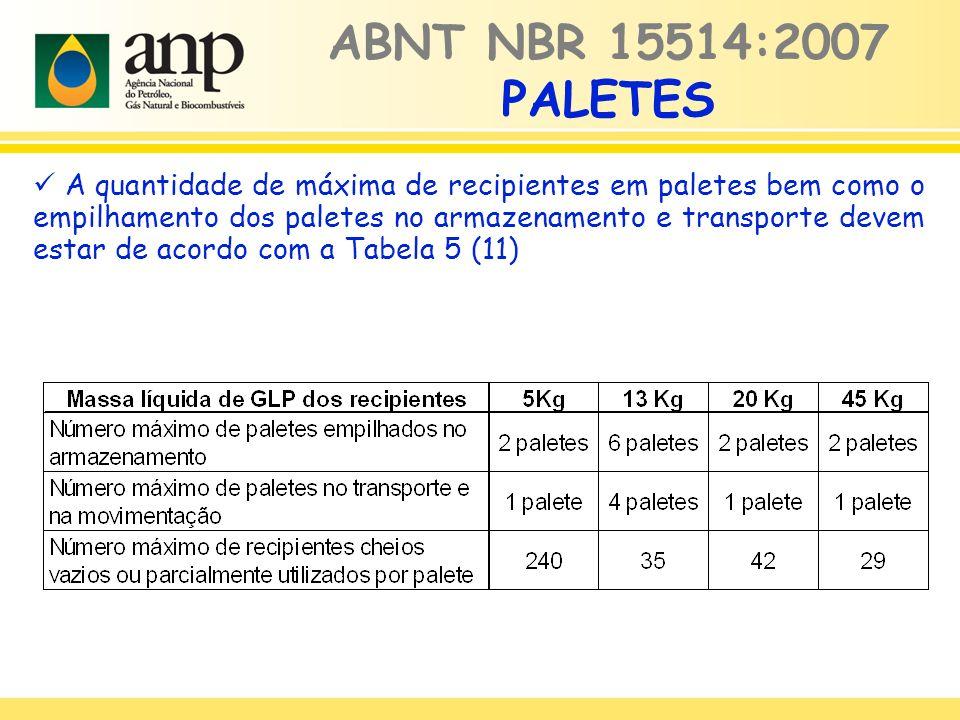 ABNT NBR 15514:2007 PALETES A quantidade de máxima de recipientes em paletes bem como o empilhamento dos paletes no armazenamento e transporte devem estar de acordo com a Tabela 5 (11)