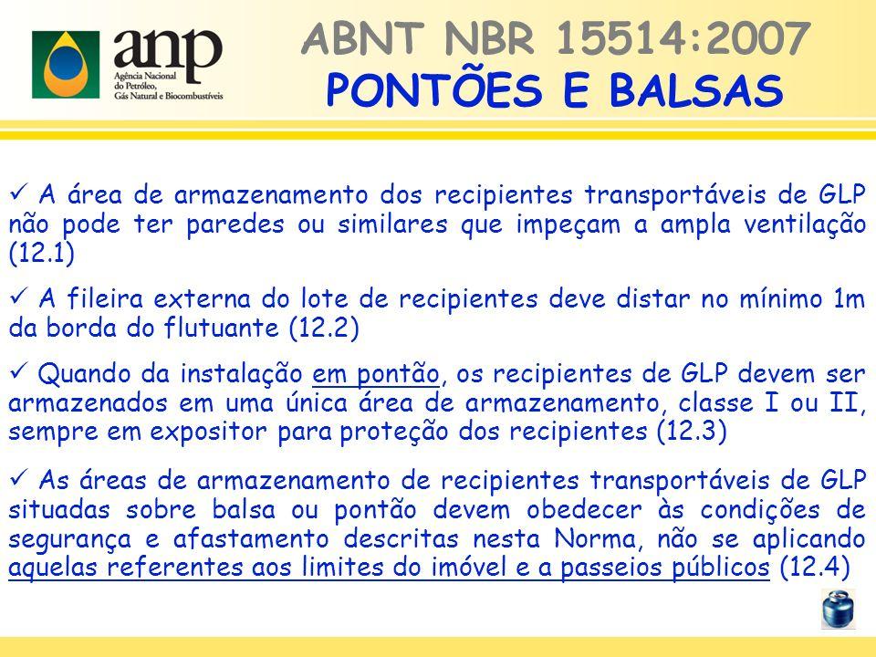 ABNT NBR 15514:2007 PONTÕES E BALSAS A área de armazenamento dos recipientes transportáveis de GLP não pode ter paredes ou similares que impeçam a amp
