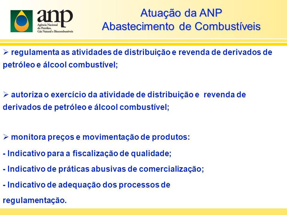 Atuação da ANP Abastecimento de Combustíveis regulamenta as atividades de distribuição e revenda de derivados de petróleo e álcool combustível; autori