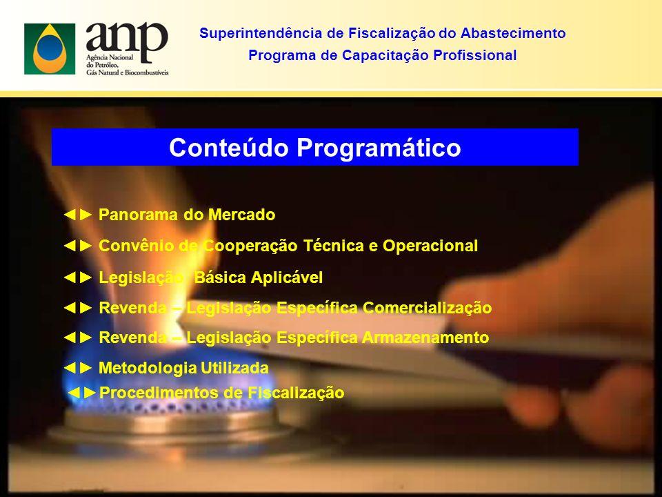 Conteúdo Programático Panorama do Mercado Convênio de Cooperação Técnica e Operacional Legislação Básica Aplicável Revenda – Legislação Específica Com