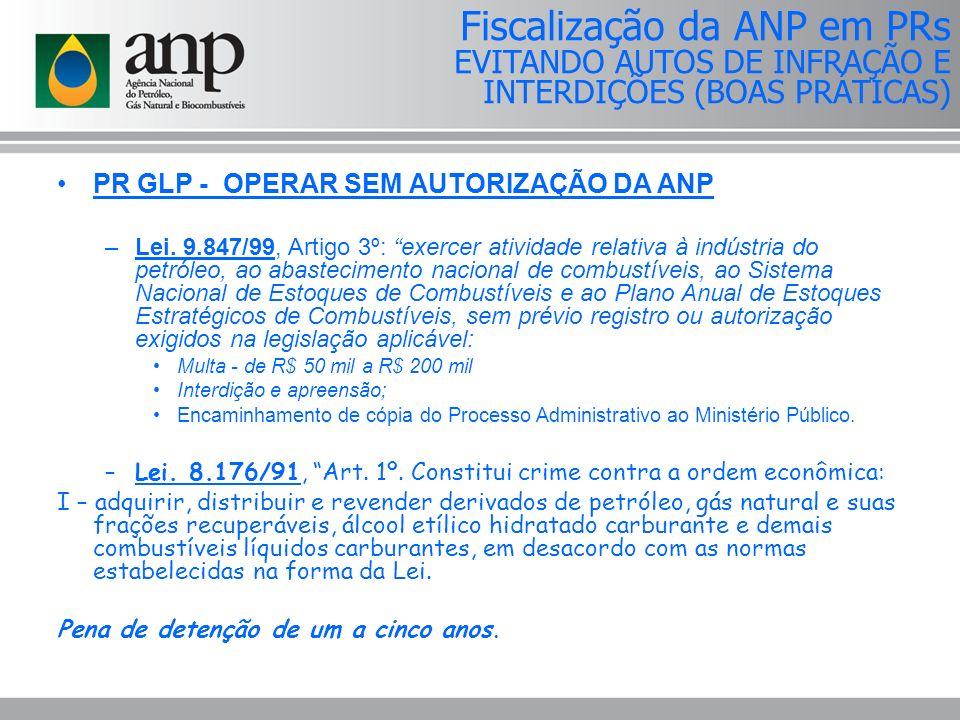 PR GLP - OPERAR SEM AUTORIZAÇÃO DA ANP –Lei.