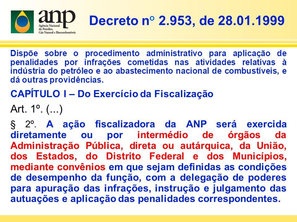 Decreto n o 2.953, de 28.01.1999 Dispõe sobre o procedimento administrativo para aplicação de penalidades por infrações cometidas nas atividades relat