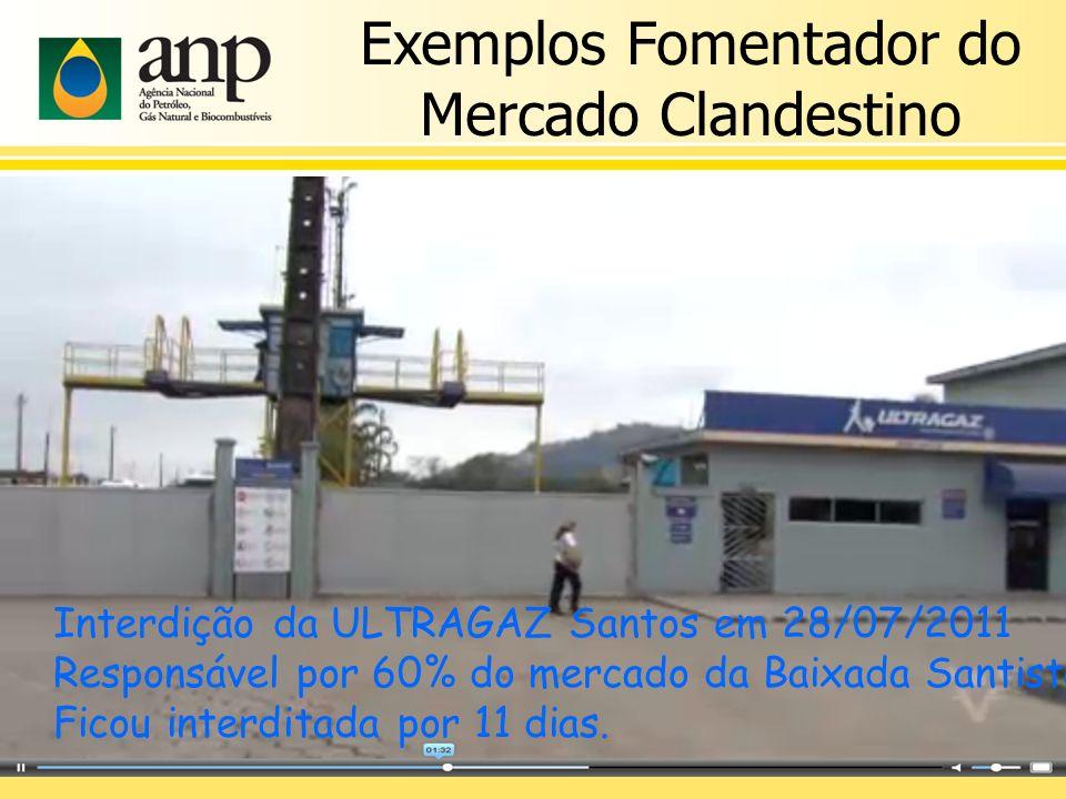 Exemplos Fomentador do Mercado Clandestino Interdição da ULTRAGAZ Santos em 28/07/2011 Responsável por 60% do mercado da Baixada Santista Ficou interditada por 11 dias.