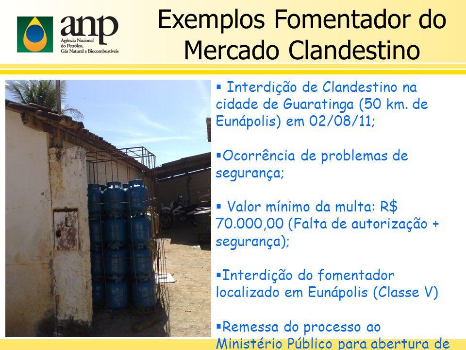 Exemplos Fomentador do Mercado Clandestino Interdição de Clandestino na cidade de Guaratinga (50 km. de Eunápolis) em 02/08/11; Ocorrência de problema