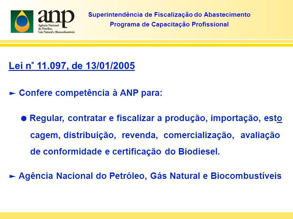 Lei n° 11.097, de 13/01/2005 Confere competência à ANP para: Regular, contratar e fiscalizar a produção, importação, esto cagem, distribuição, revenda