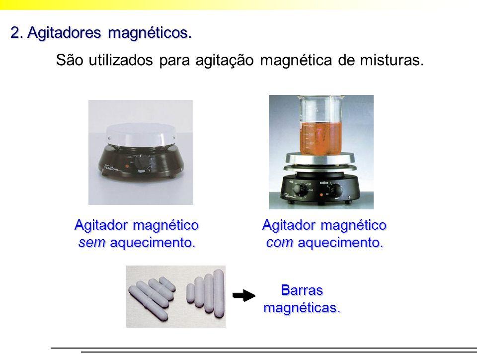 2. Agitadores magnéticos. São utilizados para agitação magnética de misturas. Agitador magnético sem aquecimento. Agitador magnético com aquecimento.