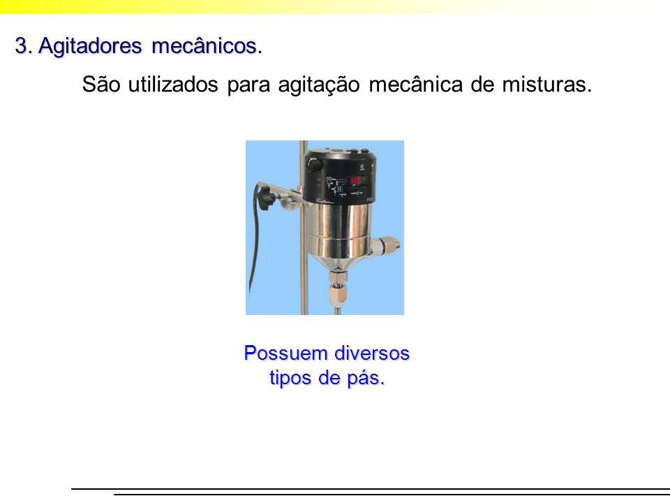 3. Agitadores mecânicos. São utilizados para agitação mecânica de misturas. Possuem diversos tipos de pás.