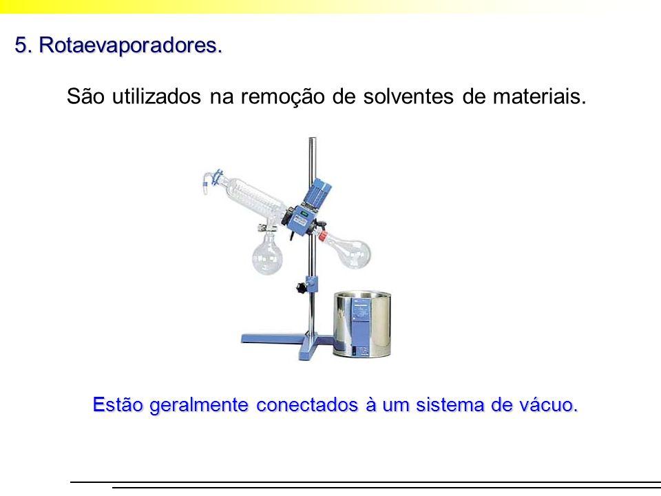 5. Rotaevaporadores. São utilizados na remoção de solventes de materiais. Estão geralmente conectados à um sistema de vácuo.