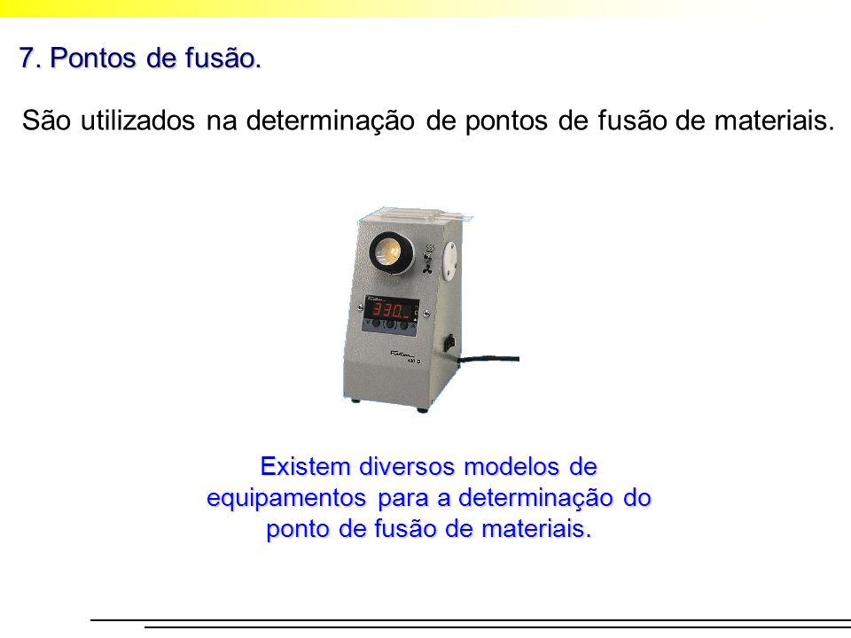 7. Pontos de fusão. São utilizados na determinação de pontos de fusão de materiais. Existem diversos modelos de equipamentos para a determinação do po