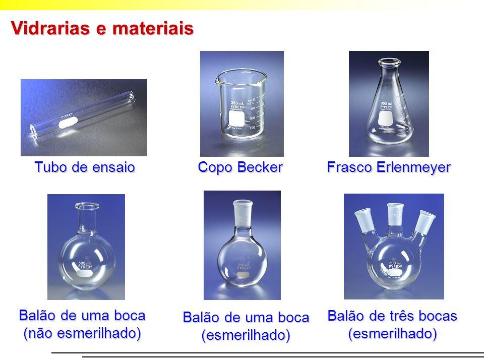 Vidrarias e materiais Balão de três bocas (esmerilhado) Balão de uma boca (esmerilhado) Balão de uma boca (não esmerilhado) Copo Becker Frasco Erlenme