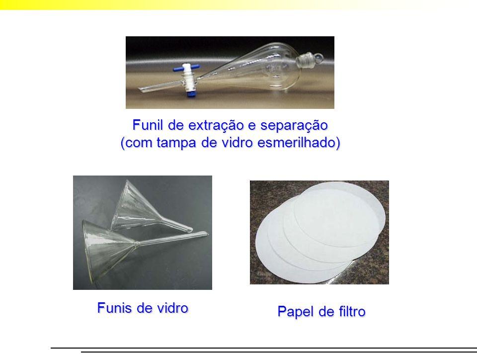 Funil de extração e separação (com tampa de vidro esmerilhado) Funis de vidro Papel de filtro