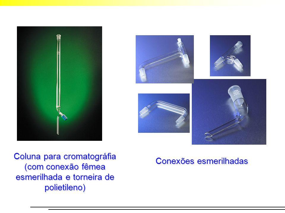 Coluna para cromatográfia (com conexão fêmea esmerilhada e torneira de polietileno) Conexões esmerilhadas