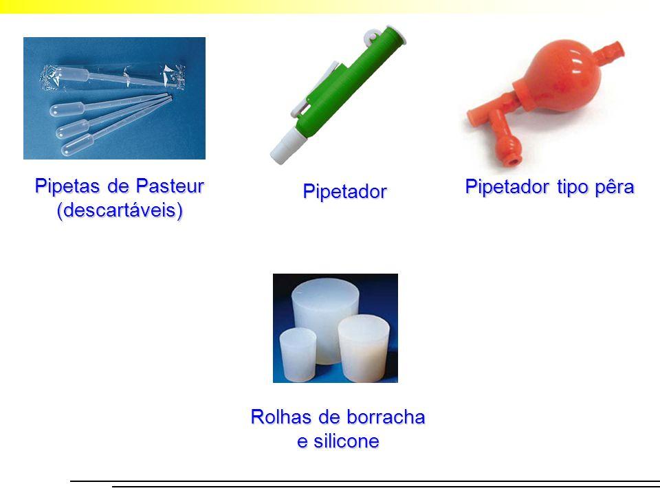 Pipetador Pipetador tipo pêra Pipetas de Pasteur (descartáveis) Rolhas de borracha e silicone