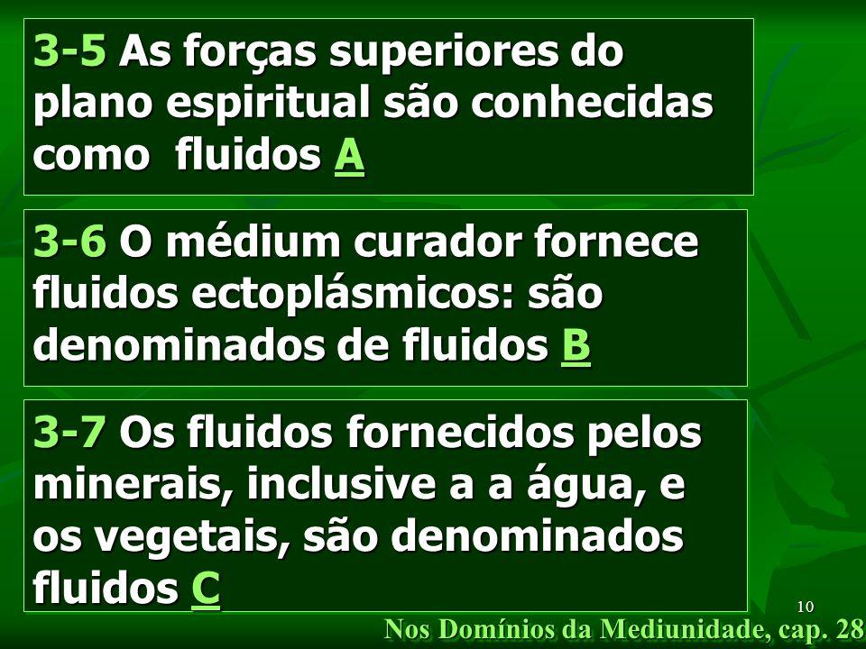 Marta/FEB10 3-5 As forças superiores do plano espiritual são conhecidas como fluidos A 3-7 Os fluidos fornecidos pelos minerais, inclusive a a água, e