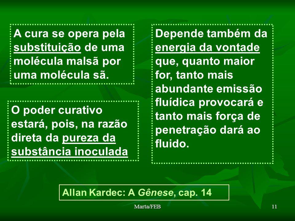Marta/FEB11 A cura se opera pela substituição de uma molécula malsã por uma molécula sã. Allan Kardec: A Gênese, cap. 14 O poder curativo estará, pois