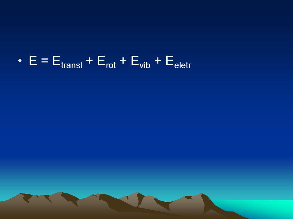 E = E transl + E rot + E vib + E eletr