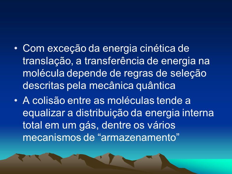 Com exceção da energia cinética de translação, a transferência de energia na molécula depende de regras de seleção descritas pela mecânica quântica A
