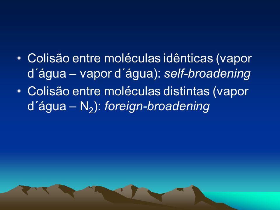 Colisão entre moléculas idênticas (vapor d´água – vapor d´água): self-broadening Colisão entre moléculas distintas (vapor d´água – N 2 ): foreign-broa