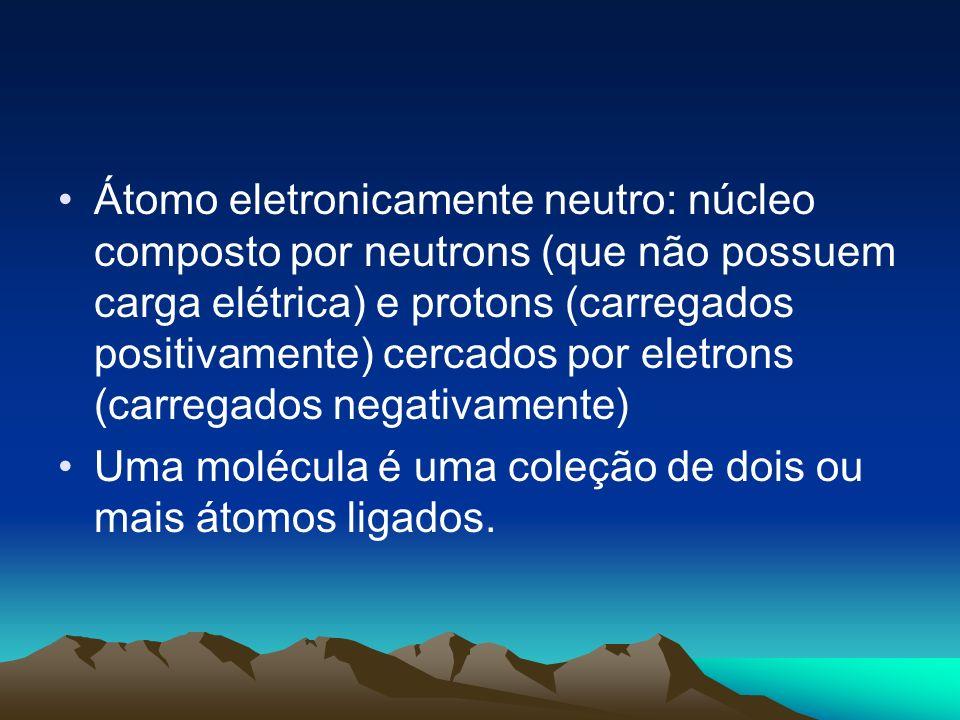 Átomo eletronicamente neutro: núcleo composto por neutrons (que não possuem carga elétrica) e protons (carregados positivamente) cercados por eletrons