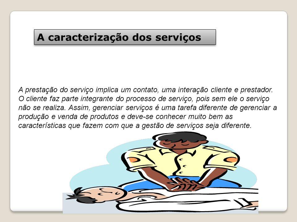 A caracterização dos serviços A prestação do serviço implica um contato, uma interação cliente e prestador. O cliente faz parte integrante do processo