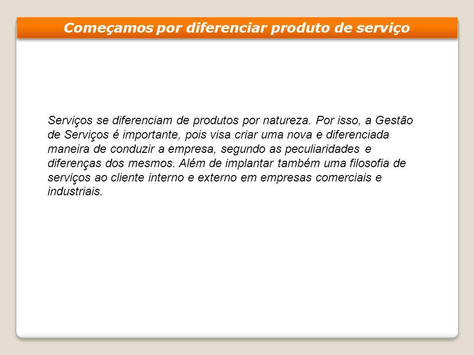 Serviços se diferenciam de produtos por natureza. Por isso, a Gestão de Serviços é importante, pois visa criar uma nova e diferenciada maneira de cond