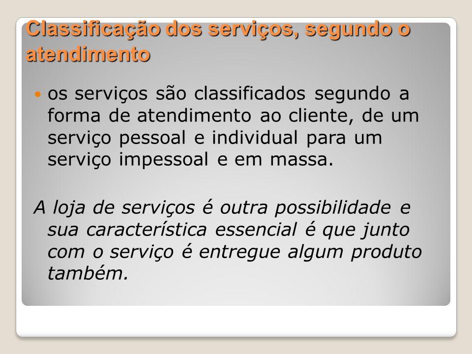 Classificação dos serviços, segundo o atendimento os serviços são classificados segundo a forma de atendimento ao cliente, de um serviço pessoal e ind