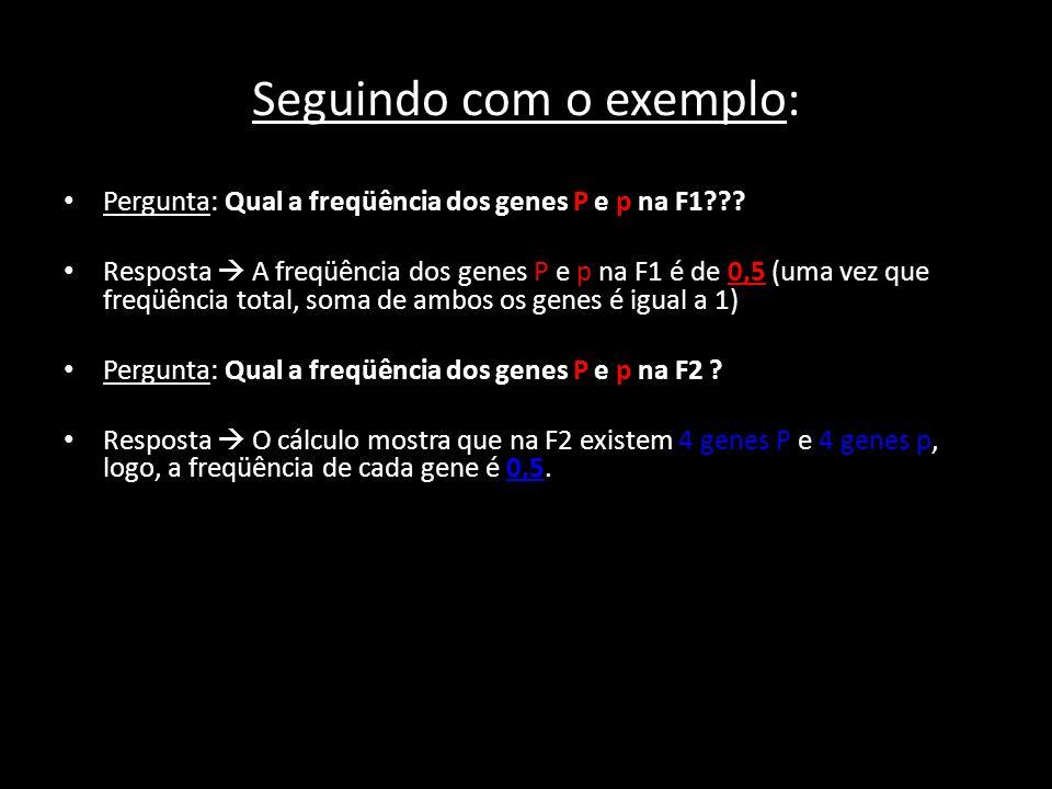 Cálculo p² + 2pq + q² = 1 onde: p= freqüência do gene M q= freqüência do gene m q 2 = 16% = 0,16 q = 0,16 = 0,4 q = 0,4 como: p + q = 1 p = 1 - q p = 1 - 0,4 = 0,6 p = 0,6