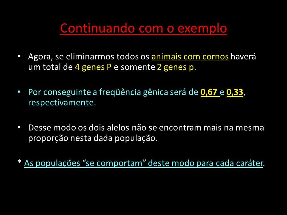 Exemplo 2: aplicação do teorema de Hardy-Weimberg icas: Supondo uma população com as seguintes freqüências gênicas: p= freqüência do gene B = 0,9 q= freqüência do gene b = 0,1 Estimar a freqüência genotípica dos descendentes utilizando a fórmula de Hardy-Weimberg Estimar a freqüência genotípica dos descendentes utilizando a fórmula de Hardy-Weimberg ( (p + q) ² = p² + 2pq + q² (0,9)² + 2.(0,9).(0,1) + (0,1)² 0,81 + 0,18 + 0,01 freqüência genotípica 81% BB; 18 % Bb; 1 %