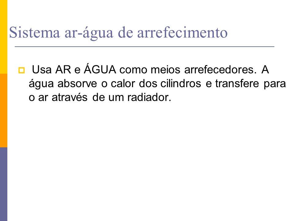 Sistema ar-água de arrefecimento Usa AR e ÁGUA como meios arrefecedores. A água absorve o calor dos cilindros e transfere para o ar através de um radi