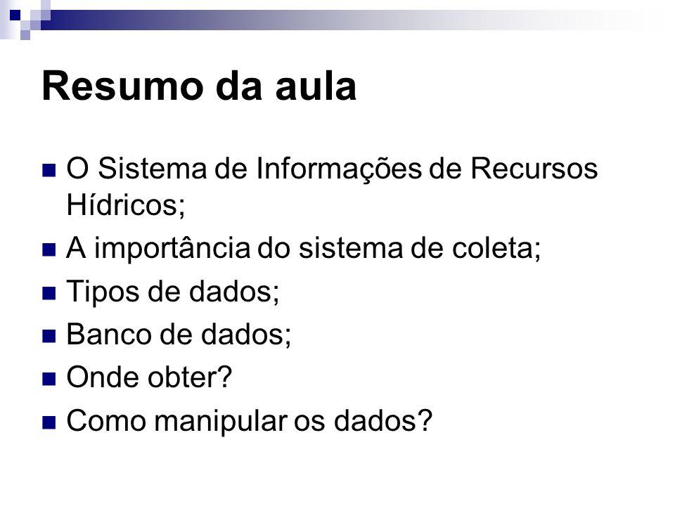 Resumo da aula O Sistema de Informações de Recursos Hídricos; A importância do sistema de coleta; Tipos de dados; Banco de dados; Onde obter.