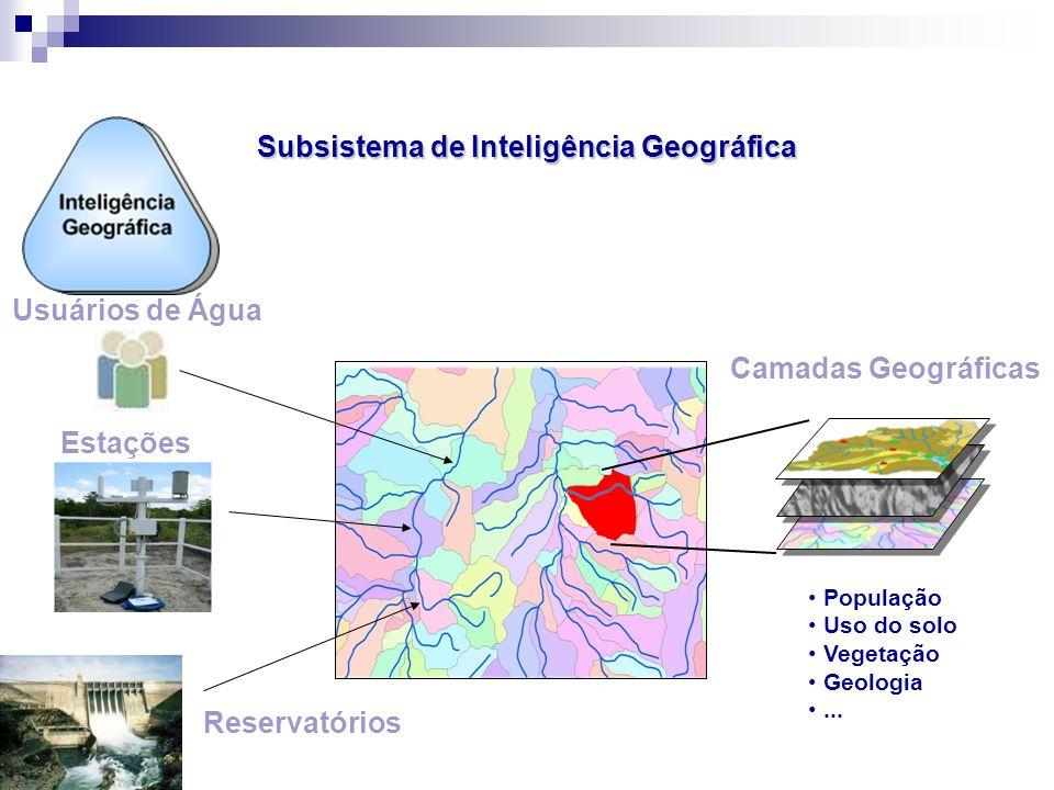 Subsistema de Inteligência Geográfica Usuários de Água Estações Reservatórios Camadas Geográficas População Uso do solo Vegetação Geologia...