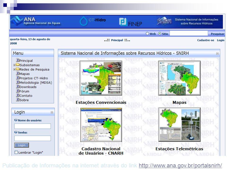 Portal SNIRH – Publicação de Informações Publicação de Informações na internet através do link http://www.ana.gov.br/portalsnirh/http://www.ana.gov.br