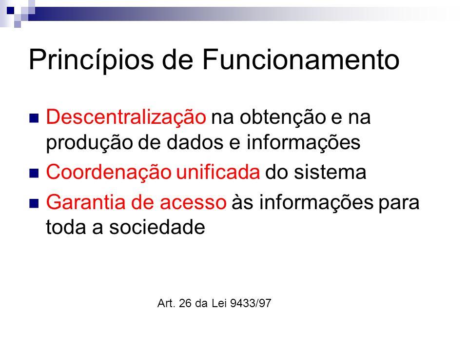 Princípios de Funcionamento Descentralização na obtenção e na produção de dados e informações Coordenação unificada do sistema Garantia de acesso às i