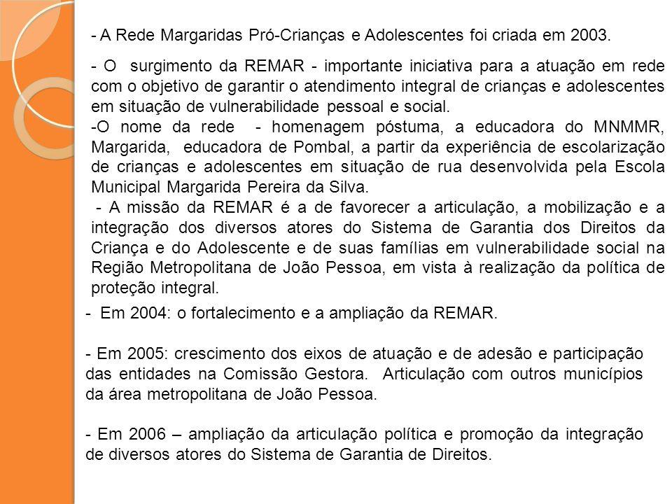 - O surgimento da REMAR - importante iniciativa para a atuação em rede com o objetivo de garantir o atendimento integral de crianças e adolescentes em