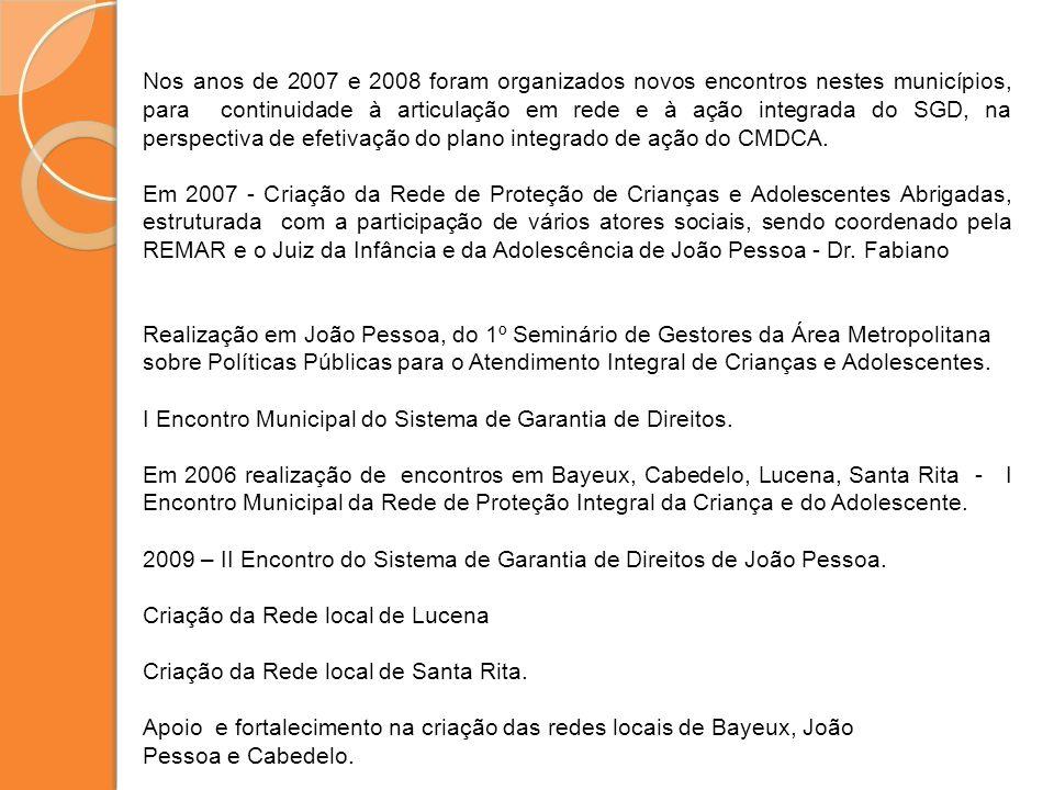 Nos anos de 2007 e 2008 foram organizados novos encontros nestes municípios, para continuidade à articulação em rede e à ação integrada do SGD, na per