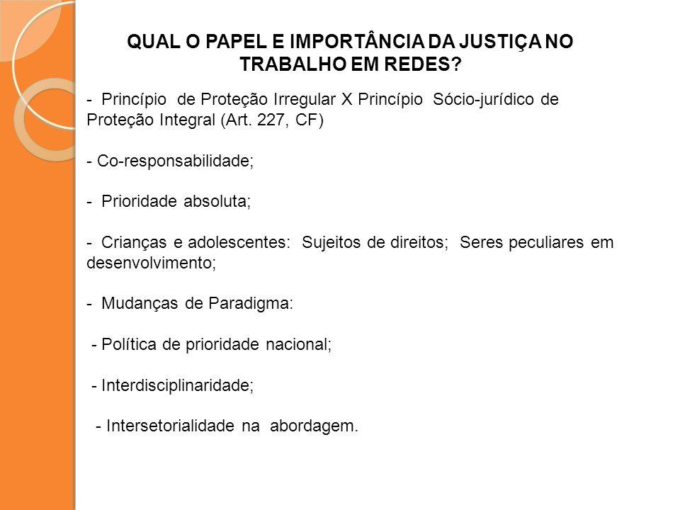 QUAL O PAPEL E IMPORTÂNCIA DA JUSTIÇA NO TRABALHO EM REDES? - Princípio de Proteção Irregular X Princípio Sócio-jurídico de Proteção Integral (Art. 22
