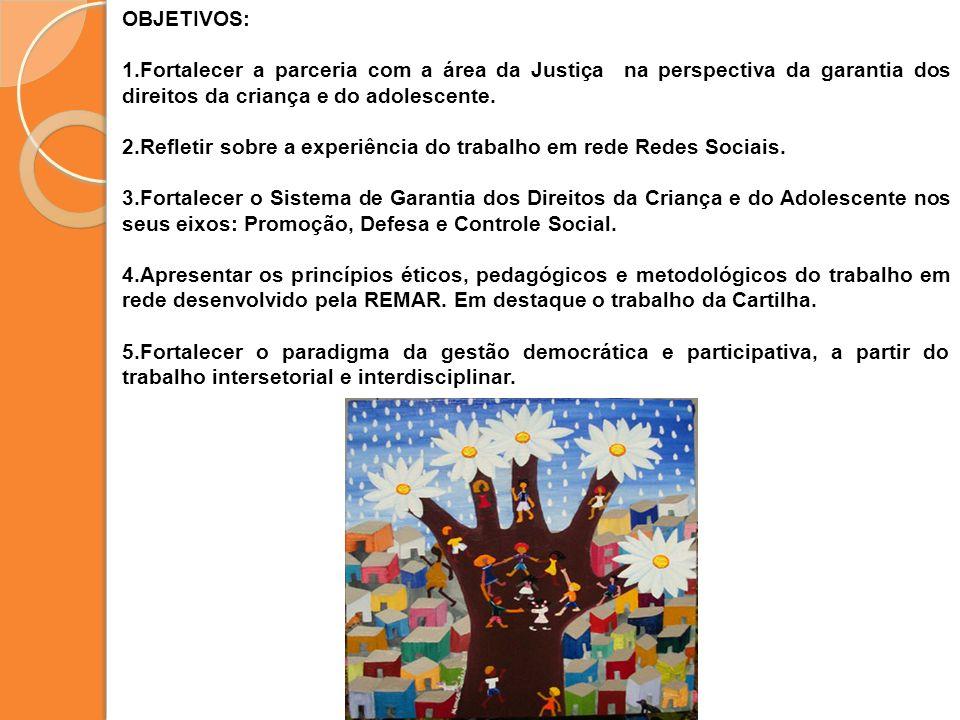 OBJETIVOS: 1.Fortalecer a parceria com a área da Justiça na perspectiva da garantia dos direitos da criança e do adolescente. 2.Refletir sobre a exper