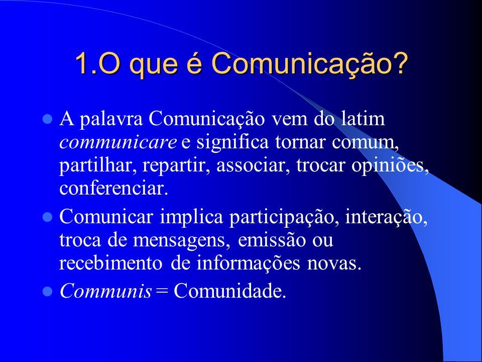 1.O que é Comunicação? A palavra Comunicação vem do latim communicare e significa tornar comum, partilhar, repartir, associar, trocar opiniões, confer