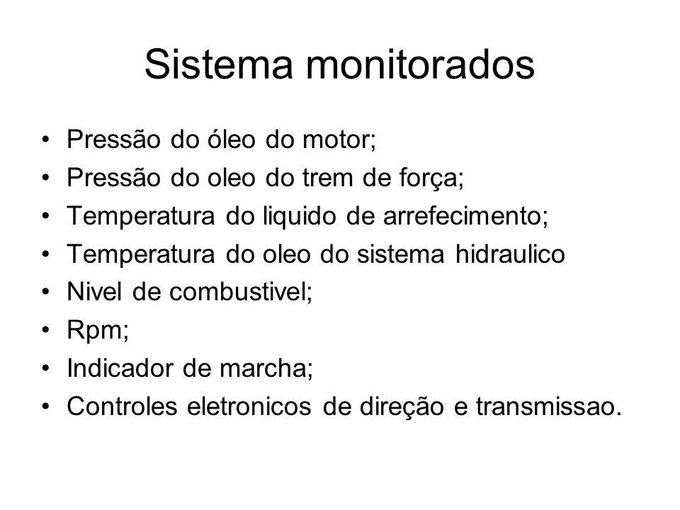 Sistema monitorados Pressão do óleo do motor; Pressão do oleo do trem de força; Temperatura do liquido de arrefecimento; Temperatura do oleo do sistem