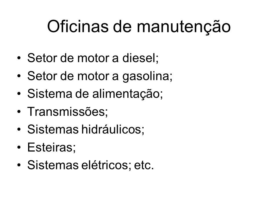 Oficinas de manutenção Setor de motor a diesel; Setor de motor a gasolina; Sistema de alimentação; Transmissões; Sistemas hidráulicos; Esteiras; Siste