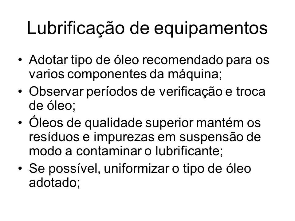 Lubrificação de equipamentos Adotar tipo de óleo recomendado para os varios componentes da máquina; Observar períodos de verificação e troca de óleo;