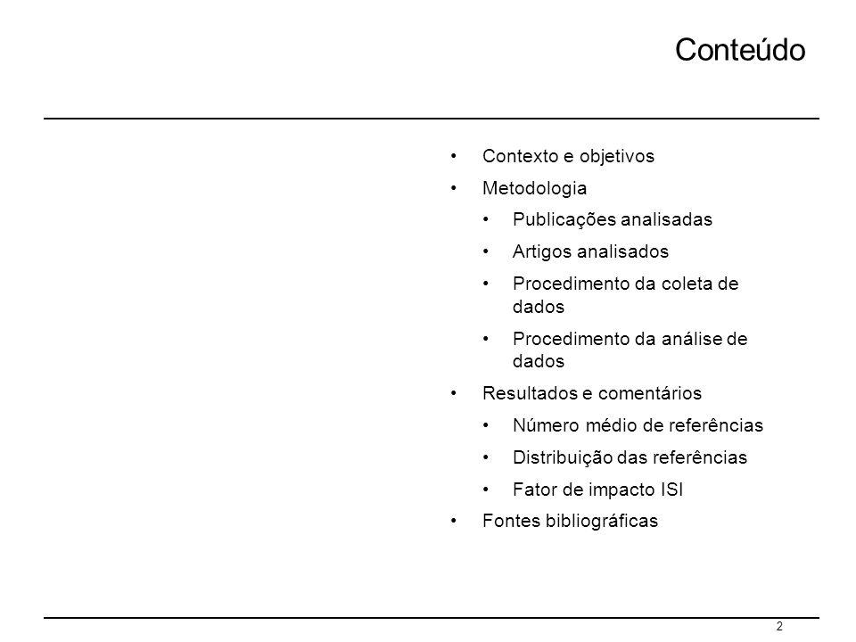 2 Conteúdo Contexto e objetivos Metodologia Publicações analisadas Artigos analisados Procedimento da coleta de dados Procedimento da análise de dados