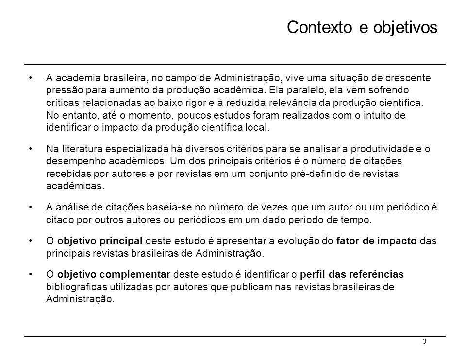 4 Metodologia Publicações analisadas As publicações estudadas foram as cinco principais revistas de Administração do Brasil, classificadas como de nível A, pela CAPES, em 2004 circulação Organizações e Sociedade (OS) 500 Revista de Administração Contemporânea (RAC)2.000 Revista de Administração de Empresas (RAE) 5.000 Revista de Administração Pública (RAP)2.000 Revista de Administração da USP (RAUSP)2.500 Foram analisados os artigos publicados nestas revistas durante o período 1994 – 2004 Nota: a RAC foi lançada em 1997